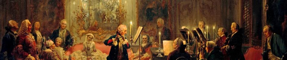 Flötenkonzert Friedrichs des Großen in Sanssouci. Am Cembalo sitzt Carl Philipp Emanuel Bach. Gemälde von Adolph von Menzel. Gemeinfrei.