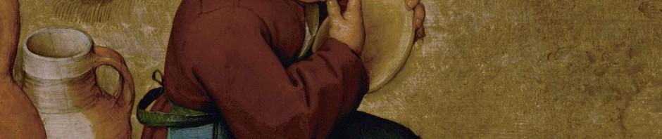 """Ausschnitt aus dem Gemälde """"Bauernhochzeit"""" von Pieter Bruegel dem Älteren. Gemeinfrei"""