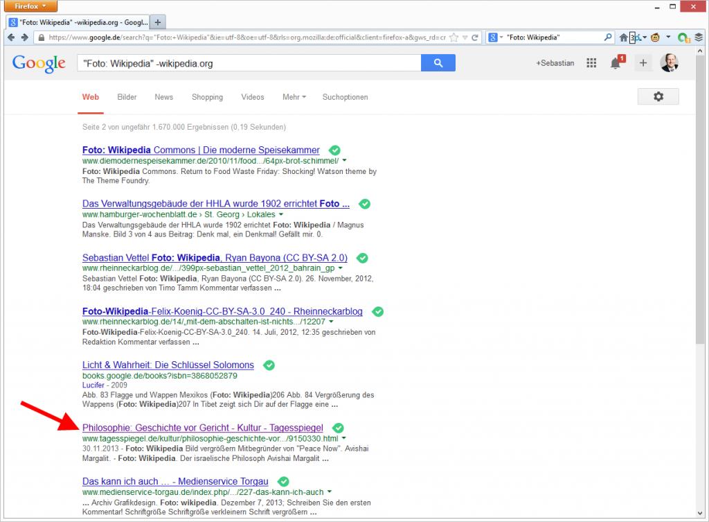 """Treffer für """"Foto: Wikipedia""""in der Google Suche. © Google"""