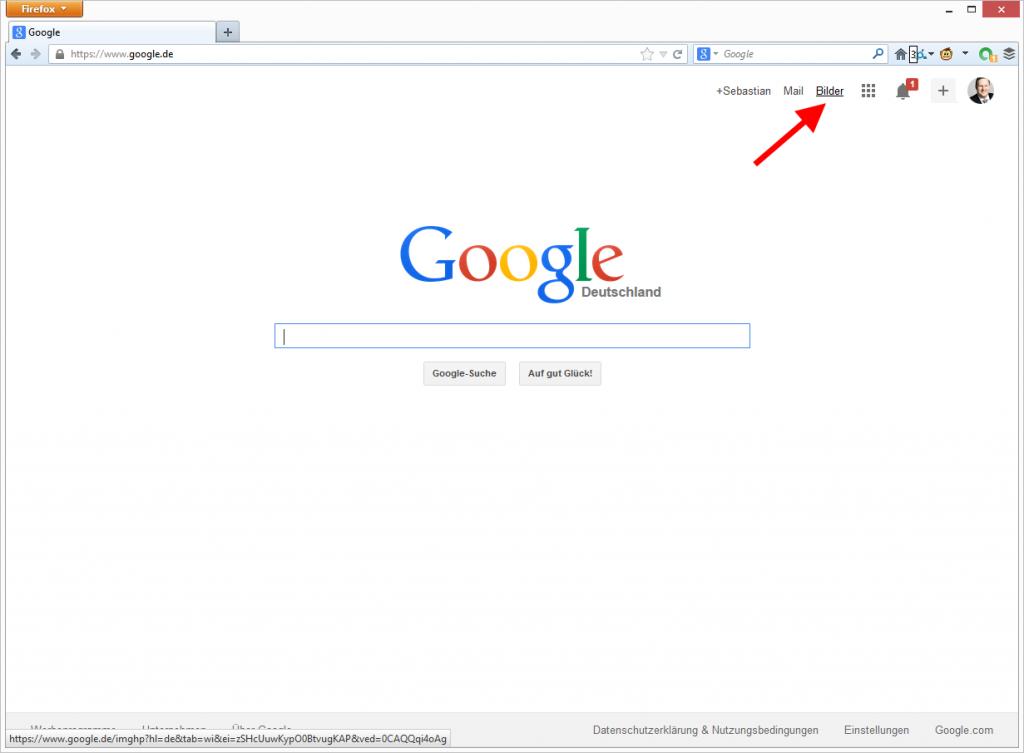 Google Suche mit Link zur Google Bildersuche. © Google