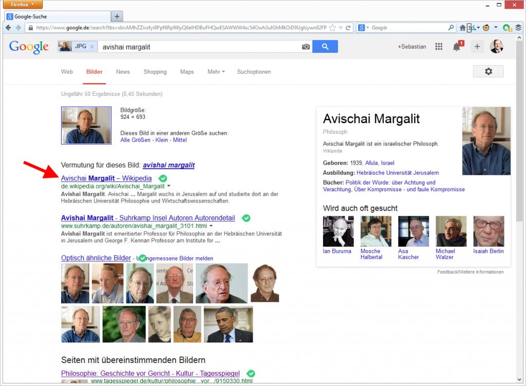 Wikipedia Link bei Google Bildersuche nach URL. © Google