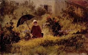 Carl Spitzweg: Der Maler im Garten. gemeinfrei