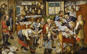 """Pieter Brueghel der Jüngere (oder seine Werkstatt): Bezahlung des Zehnten (auch: Der Bauernadvokat – Bauern bezahlen einen Advokaten in Naturalien). wahrscheinlich zwischen 1617 und 1622. Öl auf Holz. 54,2 × 86,6 cm. Gemeinfrei <a href=""""https://commons.wikimedia.org/wiki/File:Pieter_Brueghel_the_Younger_(or_workshop)_The_Payment_of_the_Tithes_Bonhams.jpg"""">via Wikimedia Commons</a>"""
