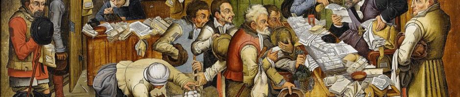 Pieter Brueghel der Jüngere (oder seine Werkstatt): Bezahlung des Zehnten (auch: Der Bauernadvokat – Bauern bezahlen einen Advokaten in Naturalien). wahrscheinlich zwischen 1617 und 1622. Öl auf Holz. 54,2 × 86,6 cm. Gemeinfrei via Wikimedia Commons