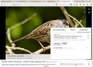 Bildschirmfoto des Mediawiki-Medienbetrachters mit Attributionsdaten. Bildschirmfoto: Sebastian Wallroth, Gemeinfrei