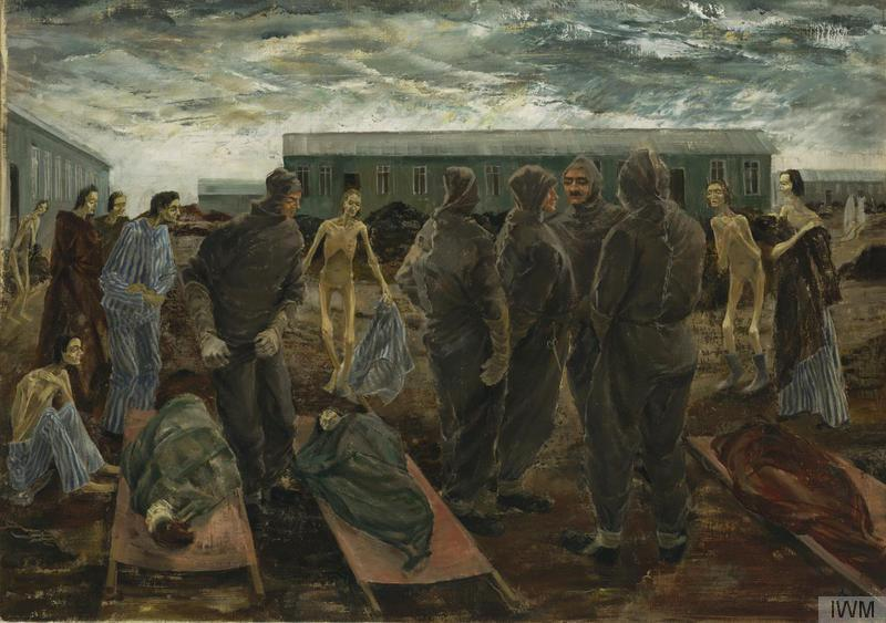 Sick Women and the Hooded Men of Belsen. Gemälde von Leslie Cole. (Quelle: Wikimedia Commons. Lizenz: gemeinfrei)